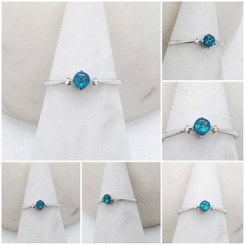 Memorial Ash Minimalist Bezel Gold Diamond Ring/ Memorial Ash JewelryPet Memoria