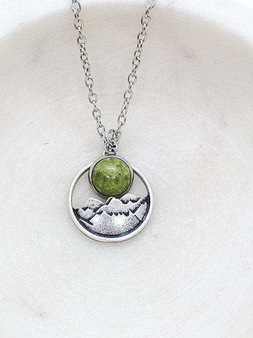 Memorial Ash Charm Mountain Pendant Necklace/Cremation Pendant/Pet Memorial Jewe
