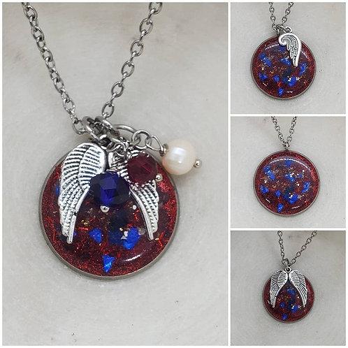 Memorial Ash Patriotic Veteran Stainless Steel/Memorial Ash Jewelry/ Pet Memoria