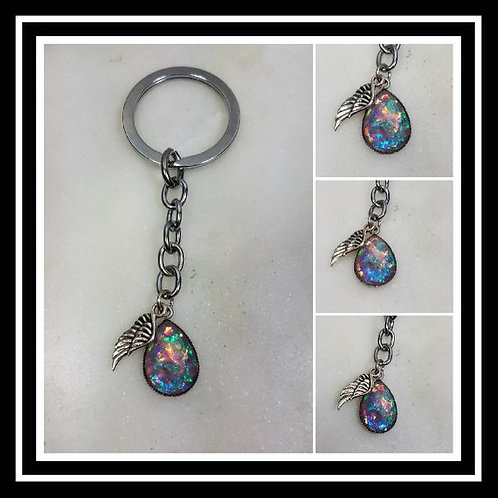 Memorial Ash Faceted Tear Drop Angel Wing Keychain