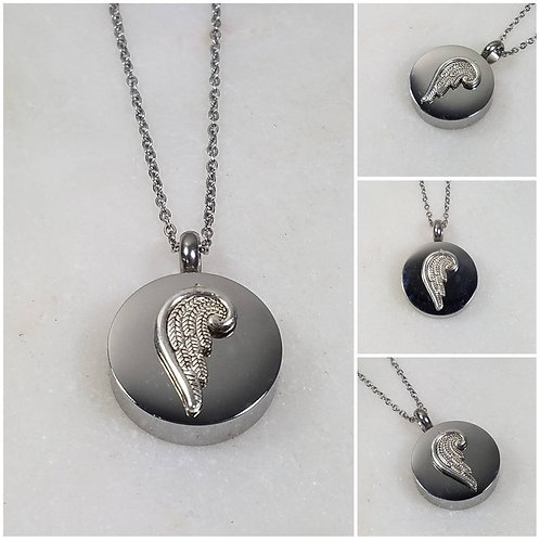 Memorial Ash Stainless Steel Cremation Angel Wing Necklace/Cremation Pendant/Cre