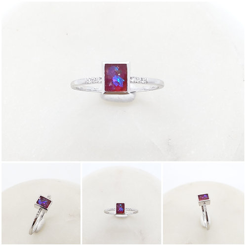 Memorial Cremation Minimalist 10k Gold Rectangle Cut Cubic Zirconia Ring