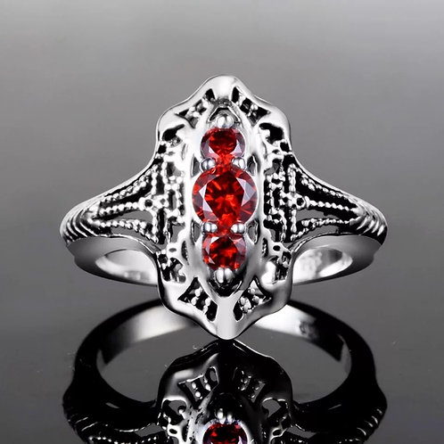 Memorial Ash Cremation Garnet and Sterling Silver Ring