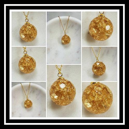 Memorial Ash Faceted Sphere Necklace/Cremation Pendant/ Pet Memorial Jewelry/ Me