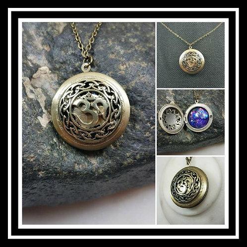 Memorial Ash Om Locket Pendant Necklace/Cremation Pendant/Pet Memorial Jewelry/C