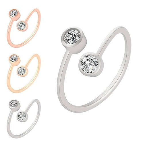 Studiodragonfly19 Memorial Ash Minimalist CZ or Diamond Double Stone Band Ring/