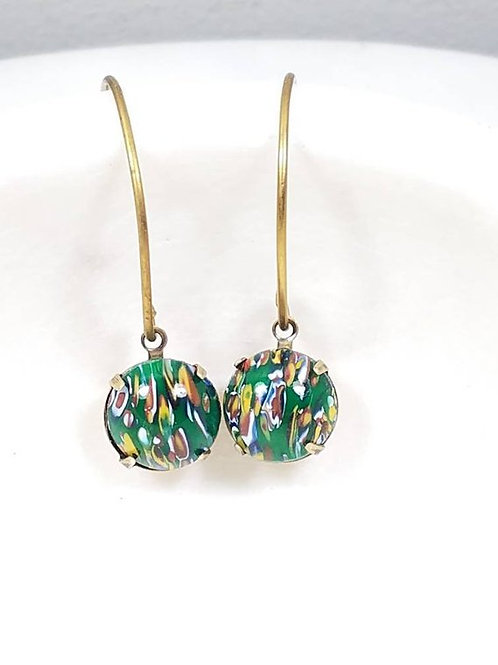 Studiodragonfly19 Cremation Vintage Round Green Millefiori Stone Earrings