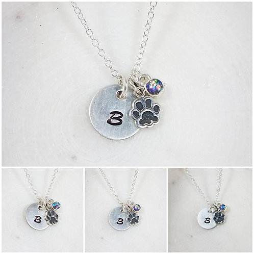 Memorial Ash Sterling Silver Paw Initial Pendant Necklace /Cremation Necklace/Pe
