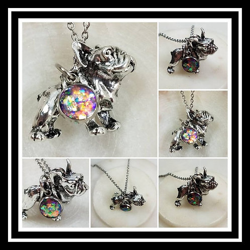 Memorial Ash Cremation French Bull DogNecklace/Cremation Pendant/ Frenchie Pet M