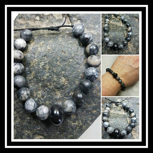 Memorial Ash Jasper Beaded Bracelet/Cremation Charm Bracelet/Pet Memorial Jewelr