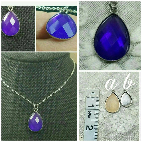 Memorial Ash Faceted Tear Drop Necklace/Cremation Jewelry/Cremation Necklace/90+