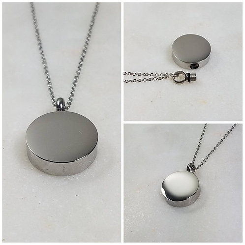 Memorial Ash Stainless Steel Cremation Round Urn Necklace/Cremation Pendant/Crem