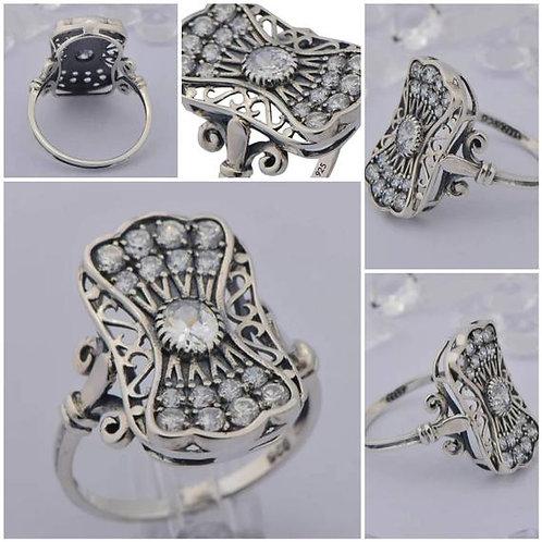 Studiodragonfly19 Memorial Ash Vintage Sterling Silver CZ Cremation Ring