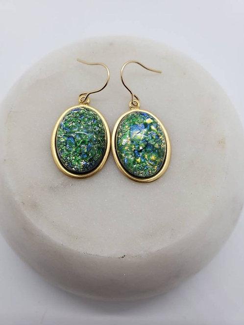 Studiodragonfly19 Cremation Czech Opal Glass Stone Memorial Ash Earrings