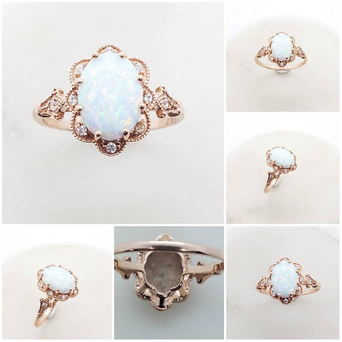 Studiodragonfly19 Memorial Ash Gold Oval Opal CZ Ring/Memorial Ash JewelryPet