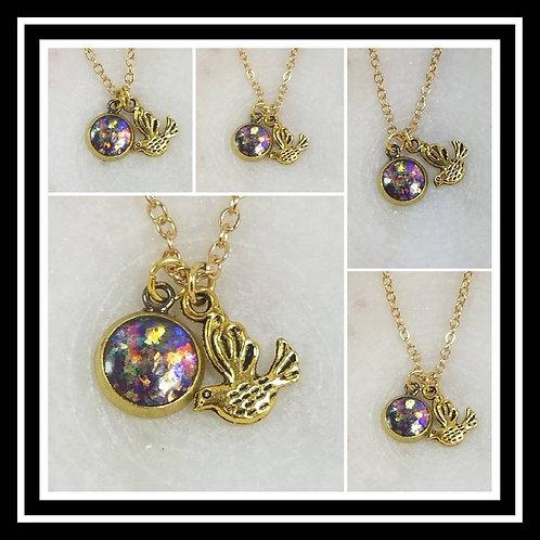 Memorial Ash Round Brass Bird Charm Pendant Necklace/ Memorial Jewelry/ Ash Neck
