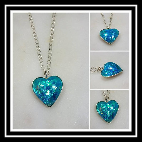 Memorial Ash Sterling Silver Heart Cremation Pendant Necklace/Cremation Pendant/