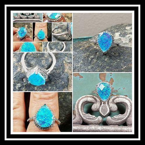 Memorial Ash Faceted Tear Drop Sterling Silver Ring/Cremation Jewelry/100+Color