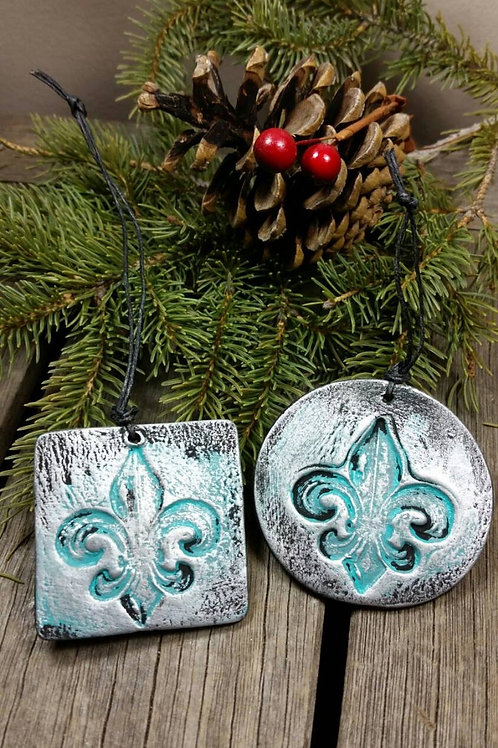 Cremation Fleur-de-lis Coin Patina Black Silver/Essential-Oil Diffusing