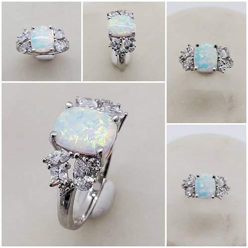 Studiodragonfly19 Memorial Ash Sterling Silver Opal Cremation Ring /Memorial Ash