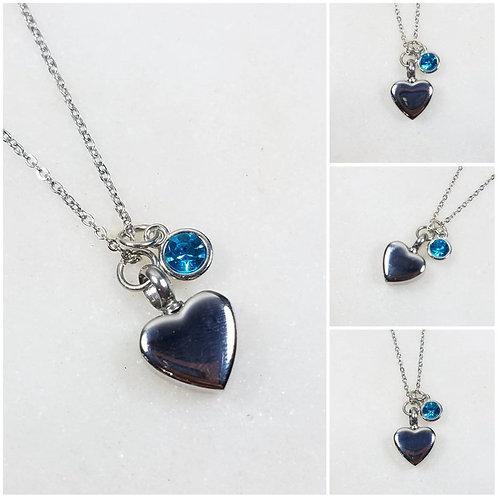 Stainless Steel Memorial Ash Heart Urn Birthstone Necklace/ Pet Urn/ Cremation N