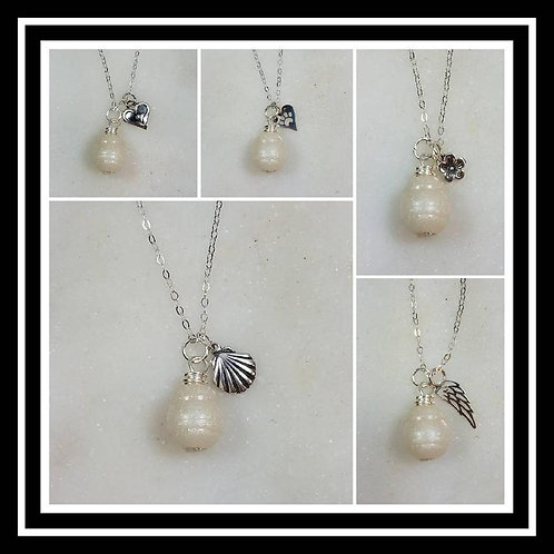 Memorial Ash Fresh Water Pearl Style Charm Pendant Necklace/Cremation Memorial J