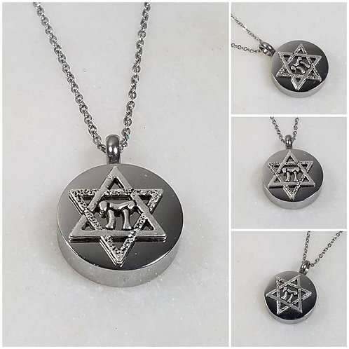 Memorial Ash Stainless Steel Cremation Star of David Chai Urn Necklace/Cremation