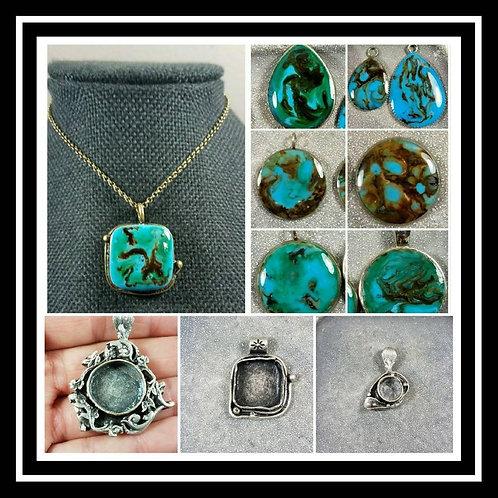 Turquoise Memorial Ash Pendant Necklace/Cremation Jewelry/8 colors/21 Pendant St