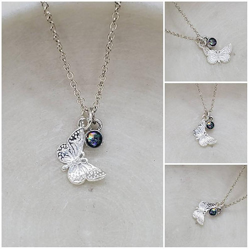 Memorial Ash Sterling Silver Butterfly Sterling Silver Charm Pendant Necklace