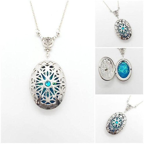Memorial Ash Stainless Steel Oval Locket Pendant Necklace/Cremation Pendant/