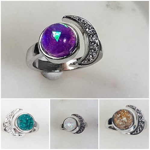 Copy of Memorial Ash Sterling Moon Ring/Memorial Ring/Cremation Ring/Pet Memoria
