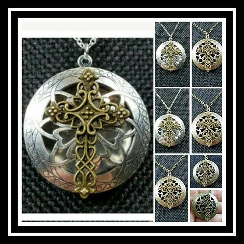 Memorial Ash Silver or Bronze Cross Locket Pendant Necklace/Cremation Pendant/Pe