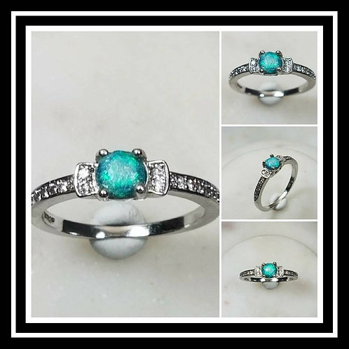 Memorial Ash Stone Sterling Silver White Gold Plated Ring/Cremation Jewelry/More