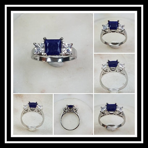 Memorial Ash Square Sterling Silver or 10kt White Gold CZ or Diamond Cremation