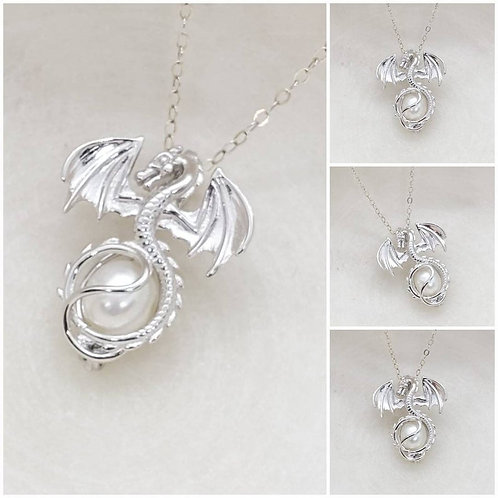 Studiodragonfly19 Memorial Ash Sterling Silver Cremation Dragon Pearl Locket