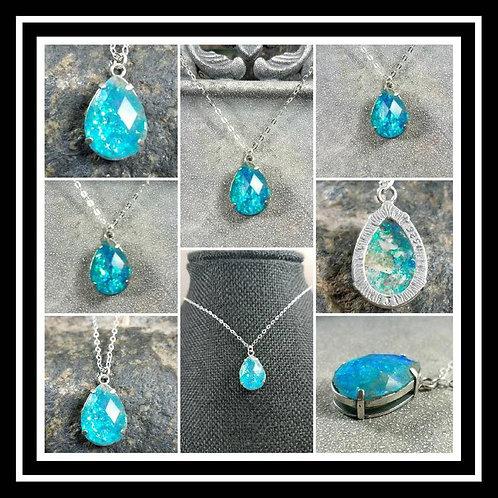 Sterling Silver Faceted Pear Memorial Necklace/ Memorial Ash Jewelry/ Pet Memori