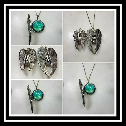 Memorial Ash Silver Angel Wing Locket Pendant Necklace