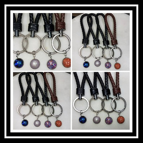 Leather Braided Memorial As Keychain