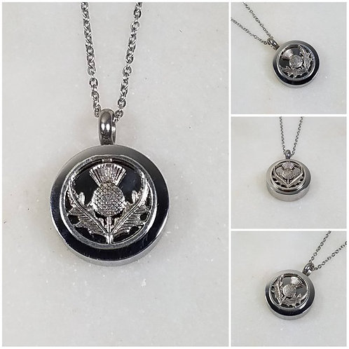 Memorial Ash Stainless Steel Cremation Round Thistle Urn Necklace/Cremation Pend