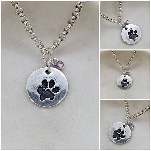 Memorial Ash Pure Silver Dog Paw Cremation Stone Necklace/Cremation Pendant/ Pet