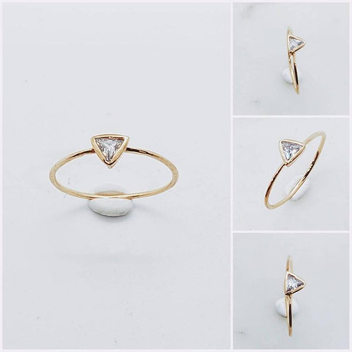 Studiodragonfly19 Memorial Ash Minimalist 10k Gold Trillion Cut CZ Ring