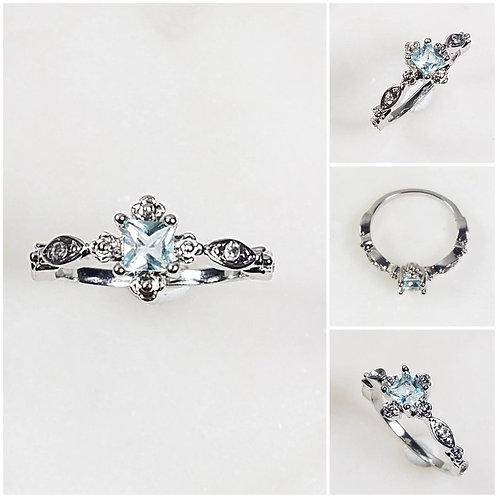 Studiodragonfly19 Memorial Ash 10k Gold Princess Cut Aquamarine Diamond Ring/Mem