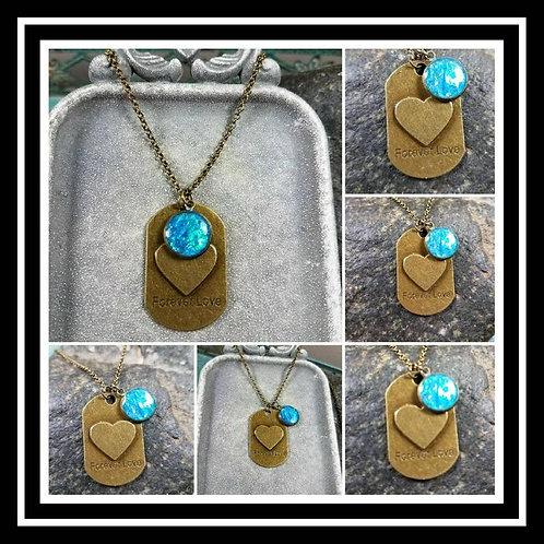 Memorial Ash Bronze Heart Dog Tag Pendant Necklace/Cremation Pendant/ Pet Memori
