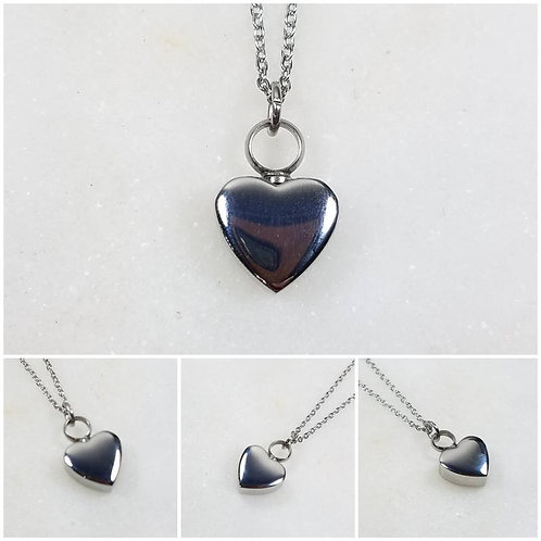 Stainless Steel Memorial Ash Heart Urn Necklace/ Pet Urn/ Cremation Necklace Pen
