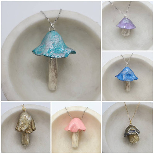 Memorial Ash Mushroom Pendant Necklace/Cremation Pendant/Pet Memorial Jewelry
