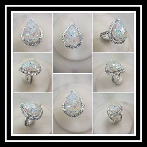 Sterling Silver Cubic Zirconia PearMemorial Cremation Jewelry/ Ash Memorial Ring