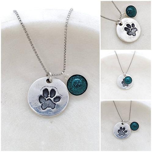 Memorial Ash Pure Silver Dog Paw Necklace/Cremation Pendant/ Pet Memorial Jewelr