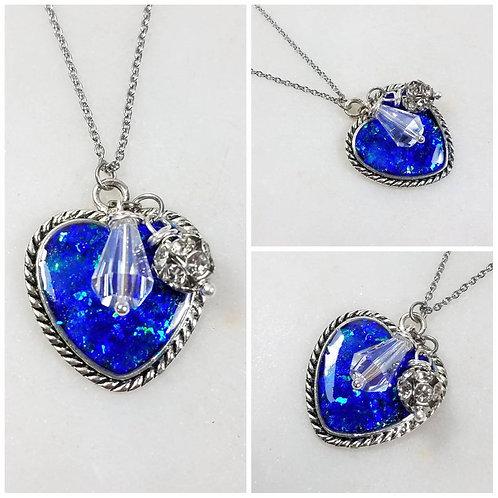 Memorial Ash Heart Pendant Necklace/Cremation Pendant/ Pet Memorial Jewelry/ Mem