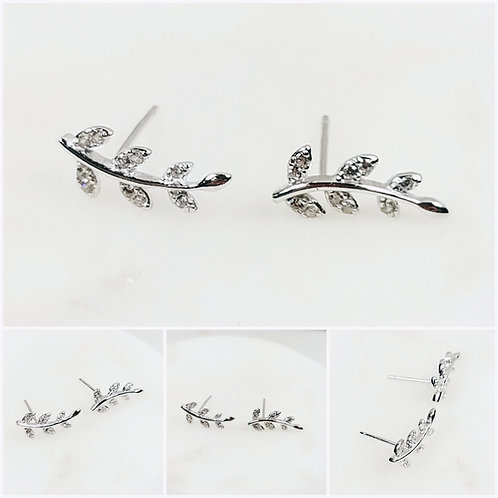 Studiodragonfly19 Cremation Leaf Sterling Silver CZ Stone Earrings/ Memorial Ash