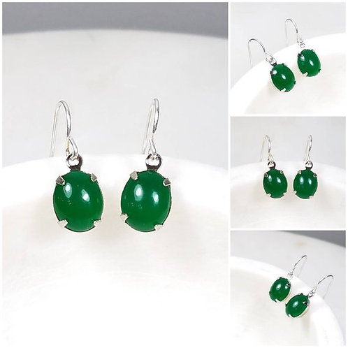 Studiodragonfly19 Cremation Vintage Jade Glass Stone Memorial Ash Earrings
